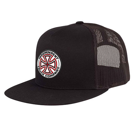 5d8e0594048b0 Independent Red White Cross Mesh Trucker Hat in stock at SPoT Skate Shop
