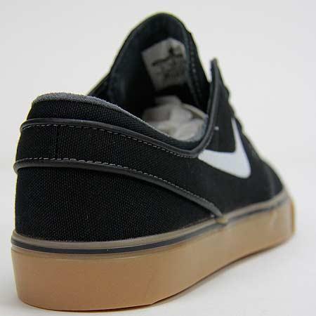 lowest price 56123 dc38a Nike Zoom Stefan Janoski Canvas Shoes, Black  White  Metallic Gold  Gum  Light Brown Photos. Close up. Laces. Back