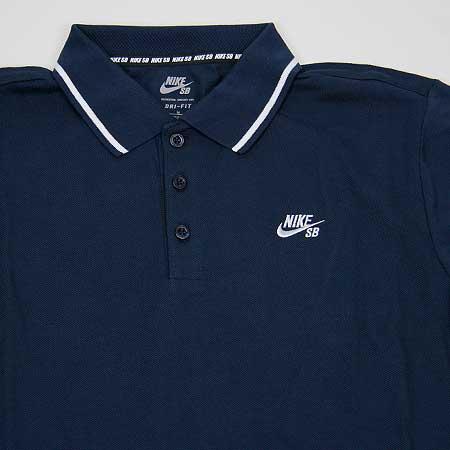 Nike SB Mens Dri-Fit Long Sleeve Skateboarding Polo Shirt Blue//Navy Red New