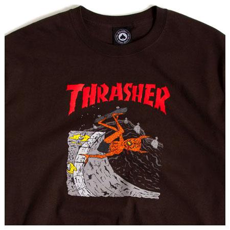 d4e8f76a700a Thrasher Magazine Neckface Invert T Shirt, Brown in stock at SPoT ...