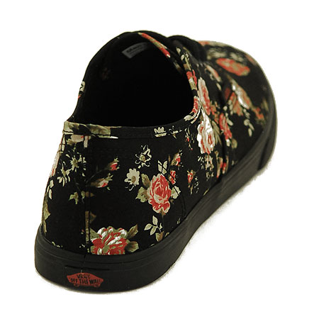 vans authentic lo pro black floral