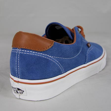 vans era 59 shoes dark blue suede brown white in stock