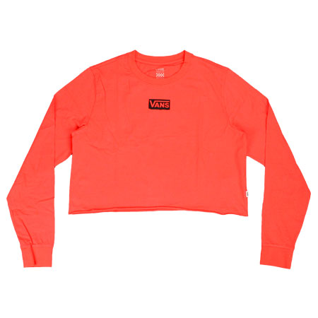 Vans Avenue Long Sleeve Crop Top Womens T Shirt, Poppy Red in ...