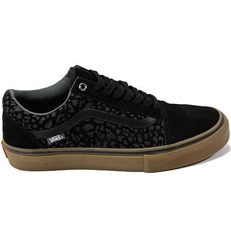 Vans Old Skool Pro Shoes, Leopard Black Suede Gum in stock