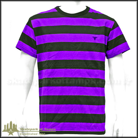 Fallen striped knit crew t shirt in stock at spot skate shop for Purple and black striped t shirt