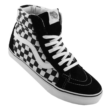 black and white checkered high top vans