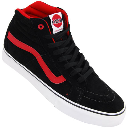 red and black sk8 hi vans